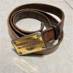 Dolce & Gabbana Gold Metal Plaque Slim Leather Blt
